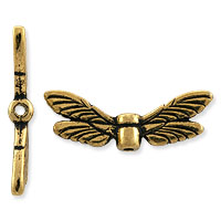 TierraCast Bead Dragonfly Wings 20x7mm Pewter Gold Plated (1-Pc)