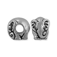 TierraCast Bead Elephant Large Hole 12x9.5mm Pewter Antique Silver Plated (1-Pc)