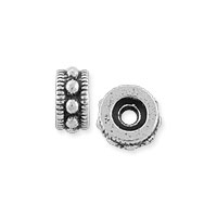 TierraCast 6mm Antique Silver Pewter Round Rococo Bead (1-Pc)