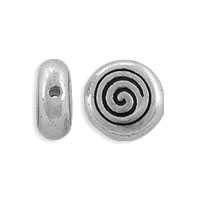 TierraCast Bead Spiral 8mm Pewter Antique Silver  (1-Pc)