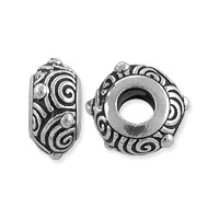 TierraCast Bead Spiral Large Hole 12.25x6.25mm Pewter Antique Silver Plated (1-Pc)