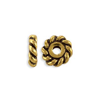 TierraCast Twisted Spacer Bead 6x2mm Pewter Antique Gold Plated (2-Pcs)