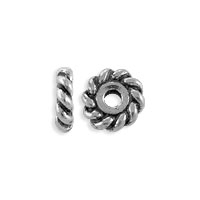 TierraCast Twisted Spacer Bead 6x2mm Pewter Antique Silver Plated (2-Pcs)