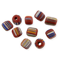 Ghana Glass Chevron Bead 5-6mm Red Multicolor (10-Pcs)