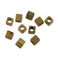 Cube Heishi 3mm Brass (10-Pcs)