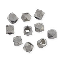 Faceted Cube Beads 4x5mm Bright Nickel Silver (10-Pcs)