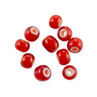 French White Heart Red/Orange Beads 3.5-4mm (10-Pcs)