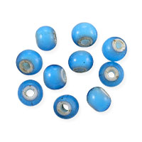 French White Heart 6mm Turquoise Blue (10-Pcs)