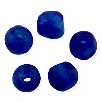 Ghana Recycled Glass Beads 11mm Cobalt (5-Pcs)