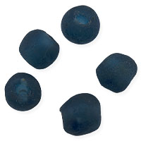 Ghana Recycled Glass Beads 15mm Dark Teal (5-Pcs)