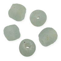 Ghana Recycled Glass Beads 10mm Soft Green (5-Pcs)