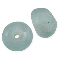 Ghana Glass Recycled Glass Bead 25mm Aqua (1-Pc)