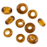 Asara Ghana Glass Beads 6x3mm Amber (10-Pcs)