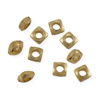 Faceted Square Heishi 3x1mm Bright Brass (10-Pcs)