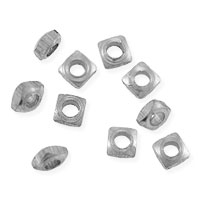 Faceted Square Heishi 3x1mm Bright Nickel Silver (10-Pcs)