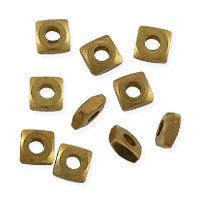 Faceted Square Heishi 4.5x2mm Bright Brass (10-Pcs)