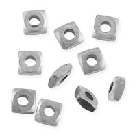 Faceted Square Heishi 4.5x2mm Bright Nickel Silver (10-Pcs)