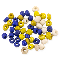 Maasai Maize/Ivory/Blue 4-5mm Glass Beads (50-Pcs)