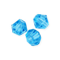 Faceted Bicone 4mm Aquamarine Crystal Beads (16