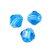 Faceted Bicone 6mm Aquamarine Crystal Beads (11