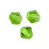 Faceted Bicone 6mm Emerald Crystal Beads (11