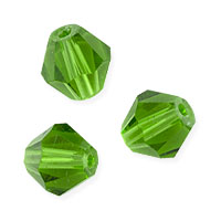 Faceted Bicone 8mm Emerald Crystal Beads (12