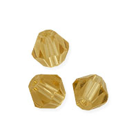 Faceted Bicone 4mm Light Topaz Crystal Beads (16