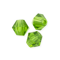 Faceted Bicone 4mm Peridot Crystal Beads (16