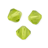 Faceted Bicone 6mm Peridot Crystal Beads (11