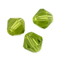Faceted Bicone 8mm Peridot Crystal Beads (12