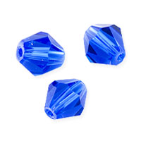 Faceted Bicone 8mm Sapphire Crystal Beads (12