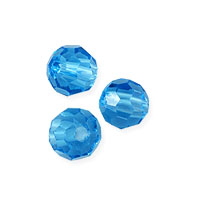 Faceted Round 4mm Aquamarine Crystal Beads (15