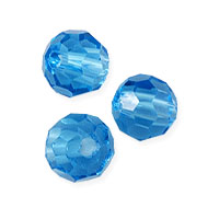 Faceted Round 6mm Aquamarine Crystal Beads (14