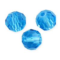 Faceted Round 8mm Aquamarine Crystal Beads (20