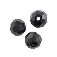 Faceted Round 6mm Jet Crystal Beads (14
