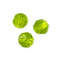 Faceted Round 4mm Peridot Crystal Beads (14
