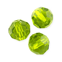 Faceted Round 8mm Peridot Crystal Beads (20
