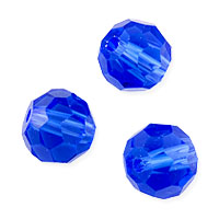Faceted Round 8mm Sapphire Crystal Beads (20
