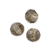 Faceted Round 4mm Smoky Quartz Crystal Beads (14