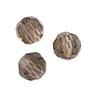 Faceted Round 6mm Smoky Quartz Crystal Beads (14