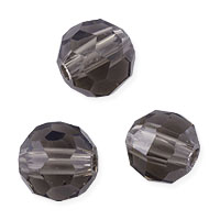 Faceted Round 8mm Smoky Quartz Crystal Beads (20