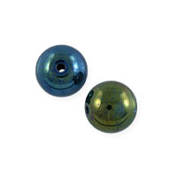Green Iris Czech Pressed Glass Round Beads 4mm (10-Pcs)