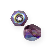 Czech Fire Polished Rounds 4mm Amethyst AB (10-Pcs)