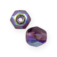 Czech Fire Polished Rounds 6mm Amethyst AB (10-Pcs)