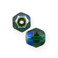 Czech Fire Polished Rounds 6mm Dark Emerald AB (10-Pcs)