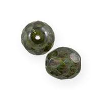 Green Luster Czech Fire Polished Rounds 6mm (10-Pcs)