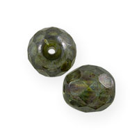 Green Luster Czech Fire Polished Rounds 8mm (10-Pcs)