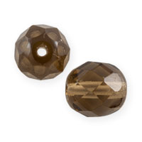 Czech Fire Polished Rounds 8mm Smokey Topaz (10-Pcs)