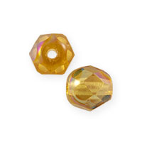 Czech Fire Polished Rounds 4mm Topaz AB (10-Pcs)
