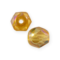 Czech Fire Polished Rounds 6mm Topaz AB (10-Pcs)